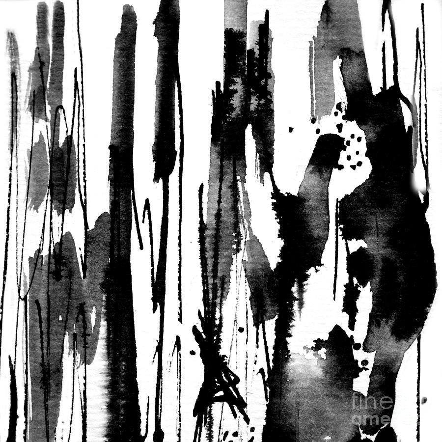 Abstract painting black and white abstract by kathie nichols