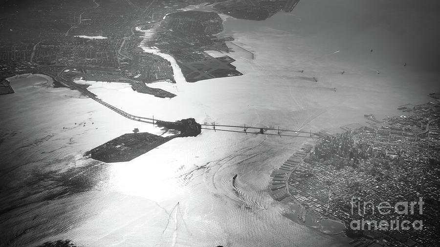 Bridge Photograph - Black And White Aerial View Of Downtown San Francisco With Sun R by PorqueNo Studios