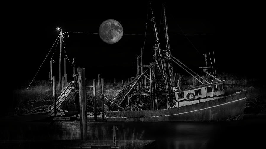Black and White Art Fishing Boat and Full Moon by Dapixara Art