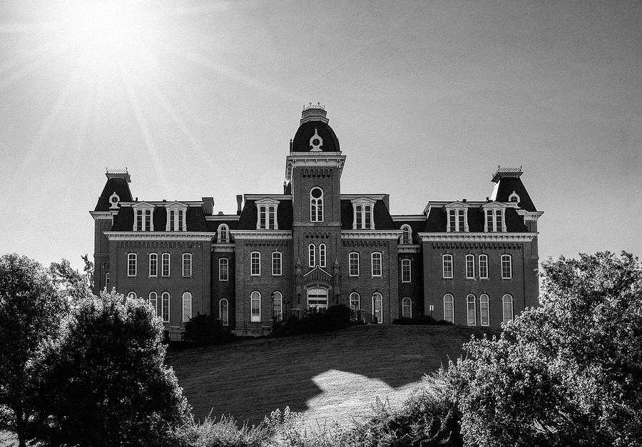 Black and white film effect of Woodburn Hall at West Virginia University in Morgantown WV by Steven Heap
