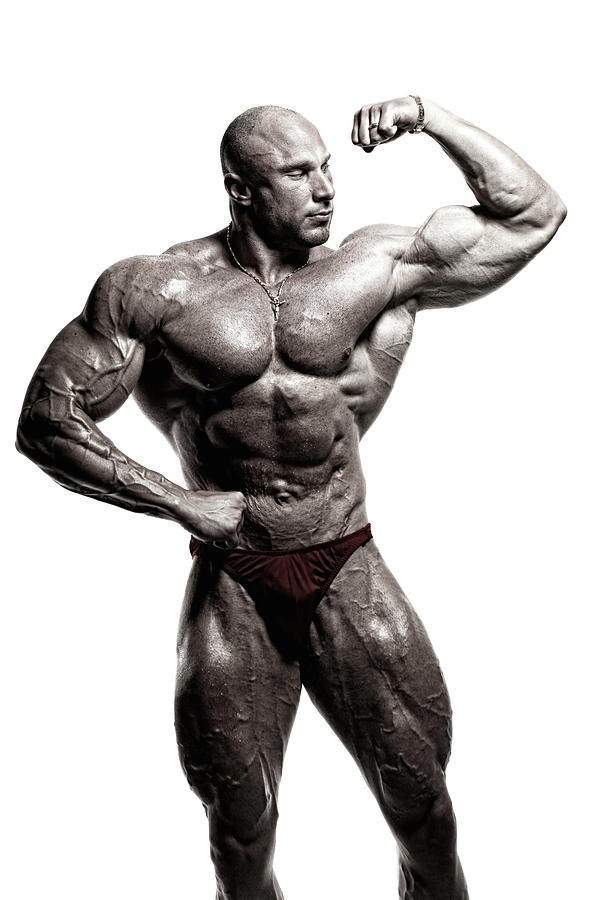 Black And White Image Of A Bodybuilder Photograph by Spanic