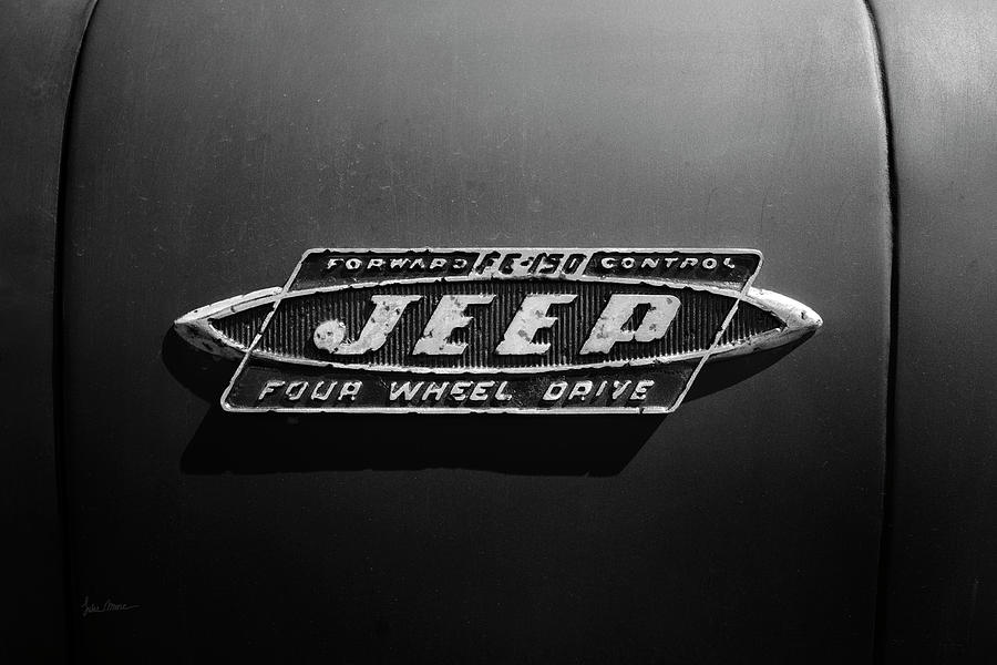 Jeep Photograph - Black And White Jeep Fc Badge by Luke Moore