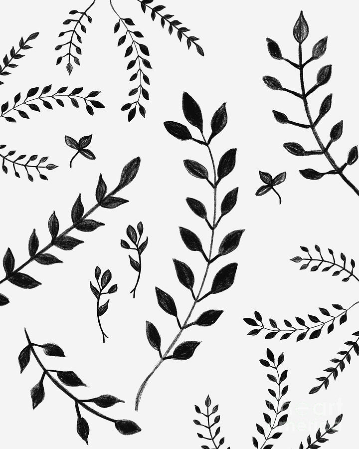 Black And White Leaves Pattern 4 Drawing Decor Art Drawing By Anitas And Bellas Art