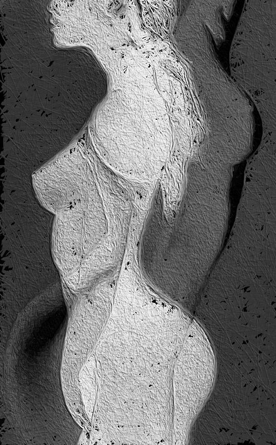 Dark Painting - Black And White Melting by Steve K