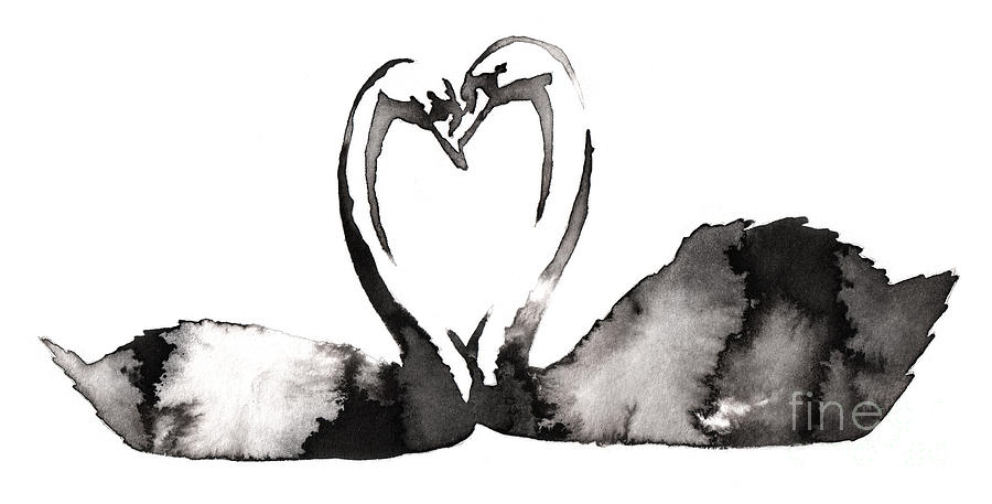 Couple Digital Art - Black And White Monochrome Painting by Evgeny Turaev