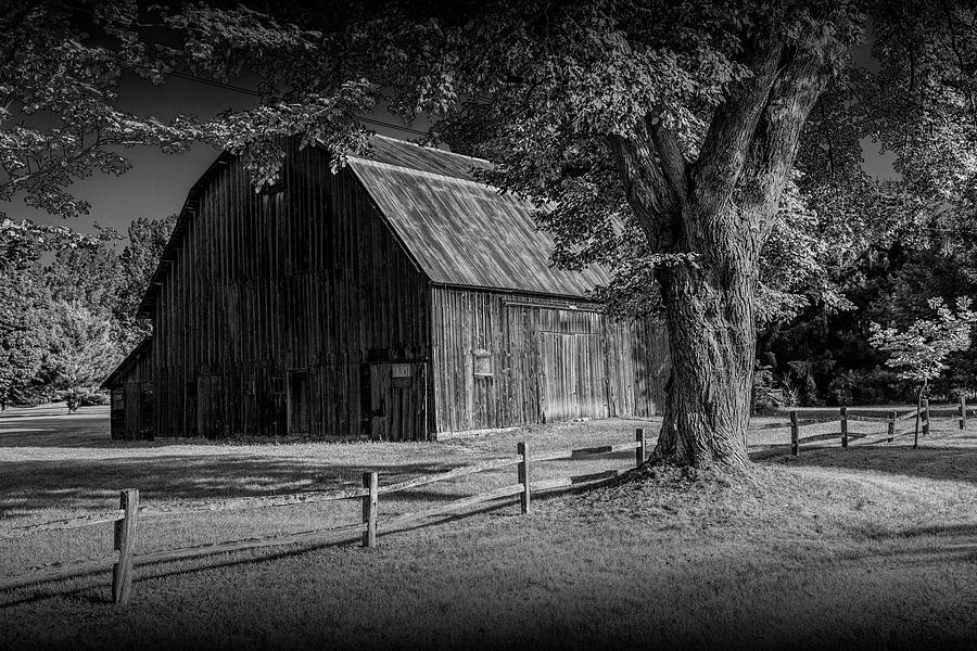 Black and White of a Wooden Weathered Barn in West Michigan by Randall Nyhof