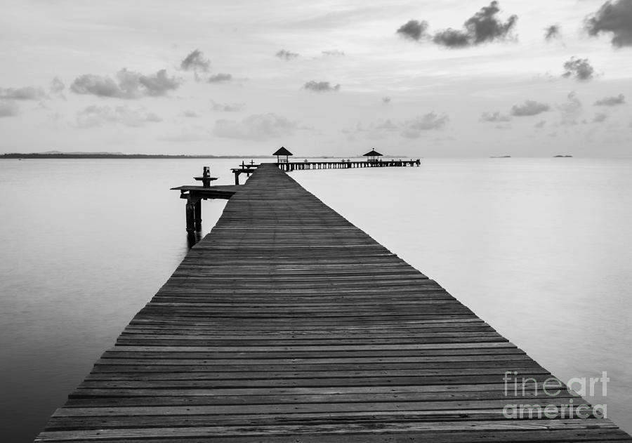 Love Photograph - Black And White Of Bridge On Beach In by Wassana Mathipikhai
