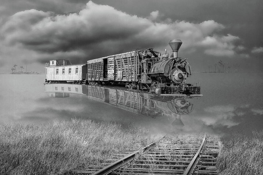 Black and White of On Life's Railway with Old Steam Locamotive E by Randall Nyhof