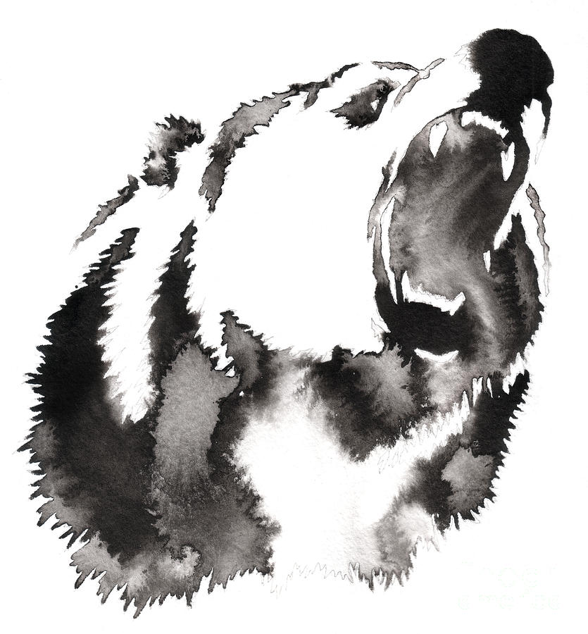 Grizzly Digital Art - Black And White Painting With Water And by Evgeny Turaev
