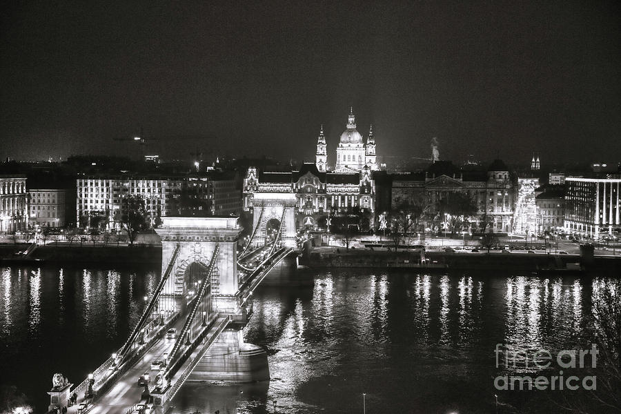 Budapest Photograph - Black And White Pano Of Budapest Chain Bridge by Stefano Senise