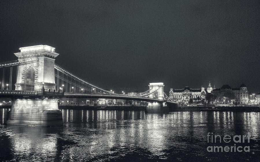 Budapest Photograph - Black And White Panorama Of Budapest Chain Bridge by Stefano Senise