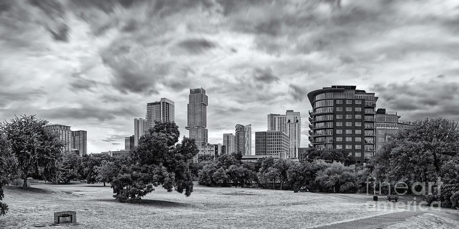 Black and White Panorama of Downtown Austin Skyline from Duncan Park - Texas Hill Country by Silvio Ligutti