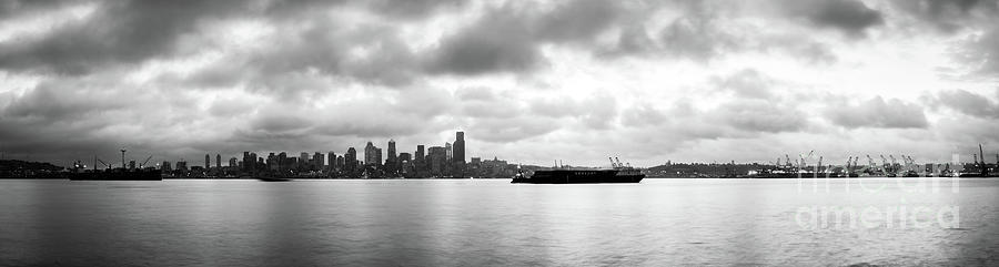 Dawn Photograph - Black And White Panorama Of Seattle Skyline Reflected On The Bay by PorqueNo Studios