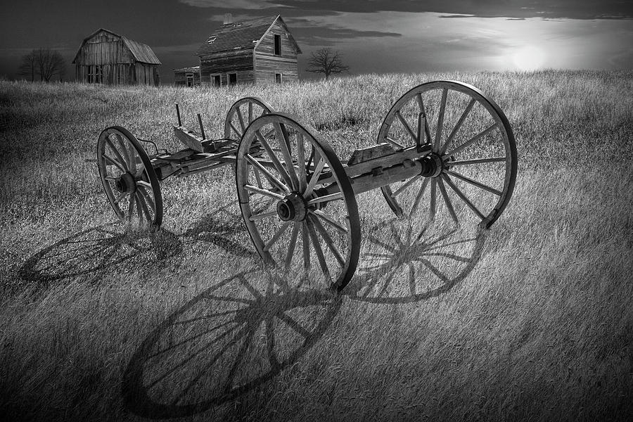 Black and White Photograph of a Farm Wagon Chassis in a Grassy F by Randall Nyhof