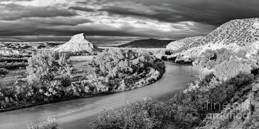 Black And White Photograph Of The Rio Chama And Cerrito Blanco In Abiquiu - Rio Arriba New Mexico Photograph