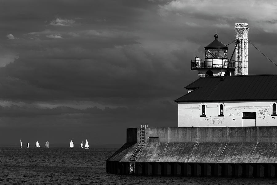 Black and White Regatta on Lake Superior by David Lunde