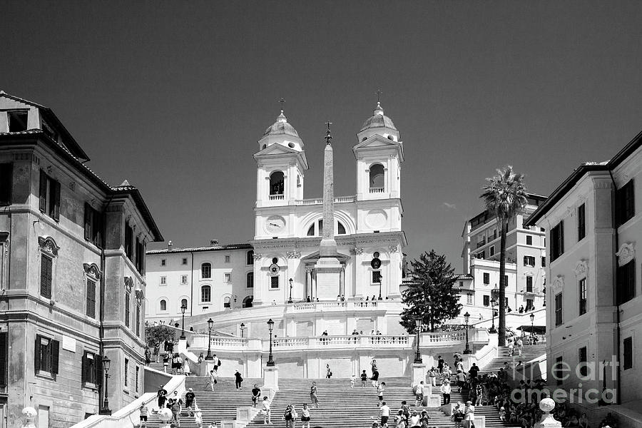 Black And White Spanish Steps Rome Photograph