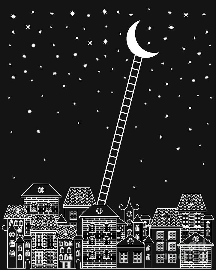 Stairs Digital Art - Black And White To The Moon And Back by In dies magis