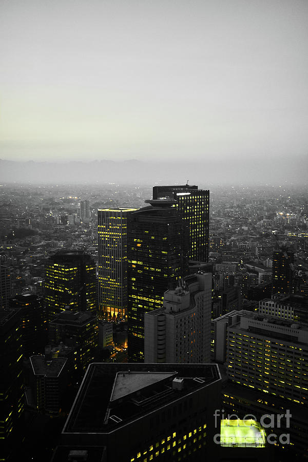 Vibrant Photograph - Black And White Tokyo Skyline At Night With Vibrant Selective Yellow Colors by Lukas Kerbs