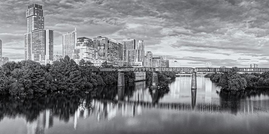 Black and White Twilight Panorama of Downtown Austin Skyline from Pfluger Pedestrian Bridge - Texas by Silvio Ligutti