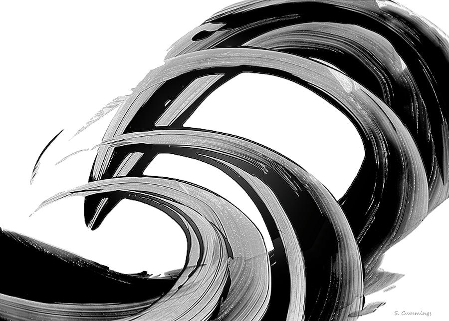 Black and White Wave Art - Black Beauty 52 - Sharon Cummings by Sharon Cummings