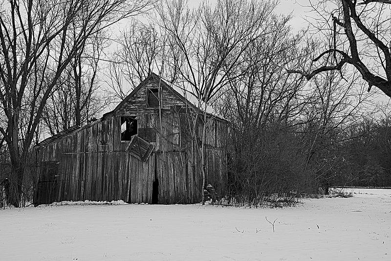 Black and White Winter Barn by Karen McKenzie McAdoo