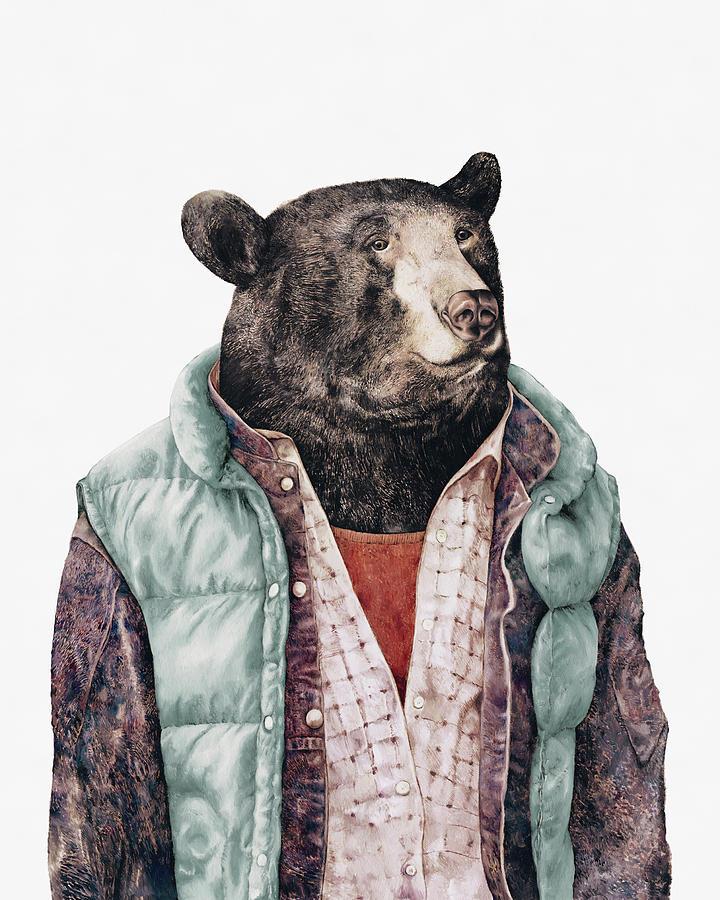 Black Bear Painting - Black Bear Cyan by Animal Crew