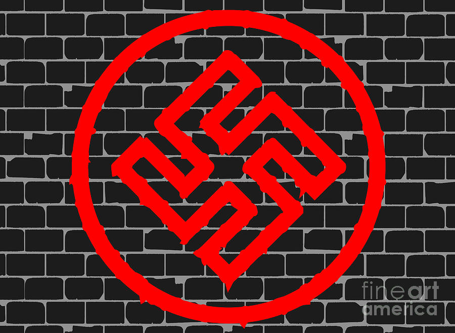Black Brick Wall With Nazi Symbol Graffiti