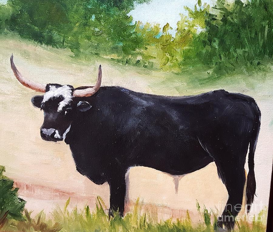 Black Bull Painting - Black Bull by Barbara Haviland