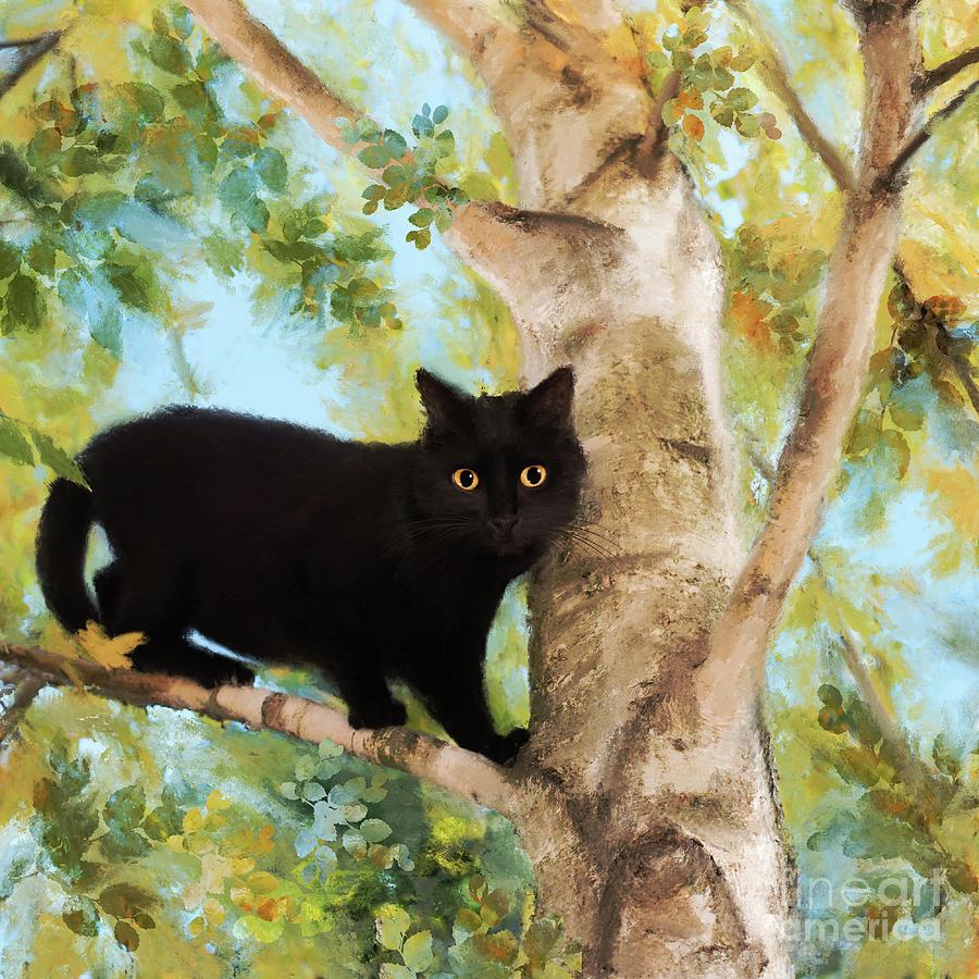 Black Cat in Tree by Anne Vis