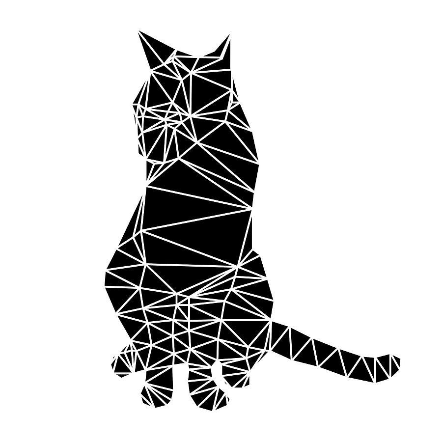 Cat Digital Art - Black Cat by Naxart Studio