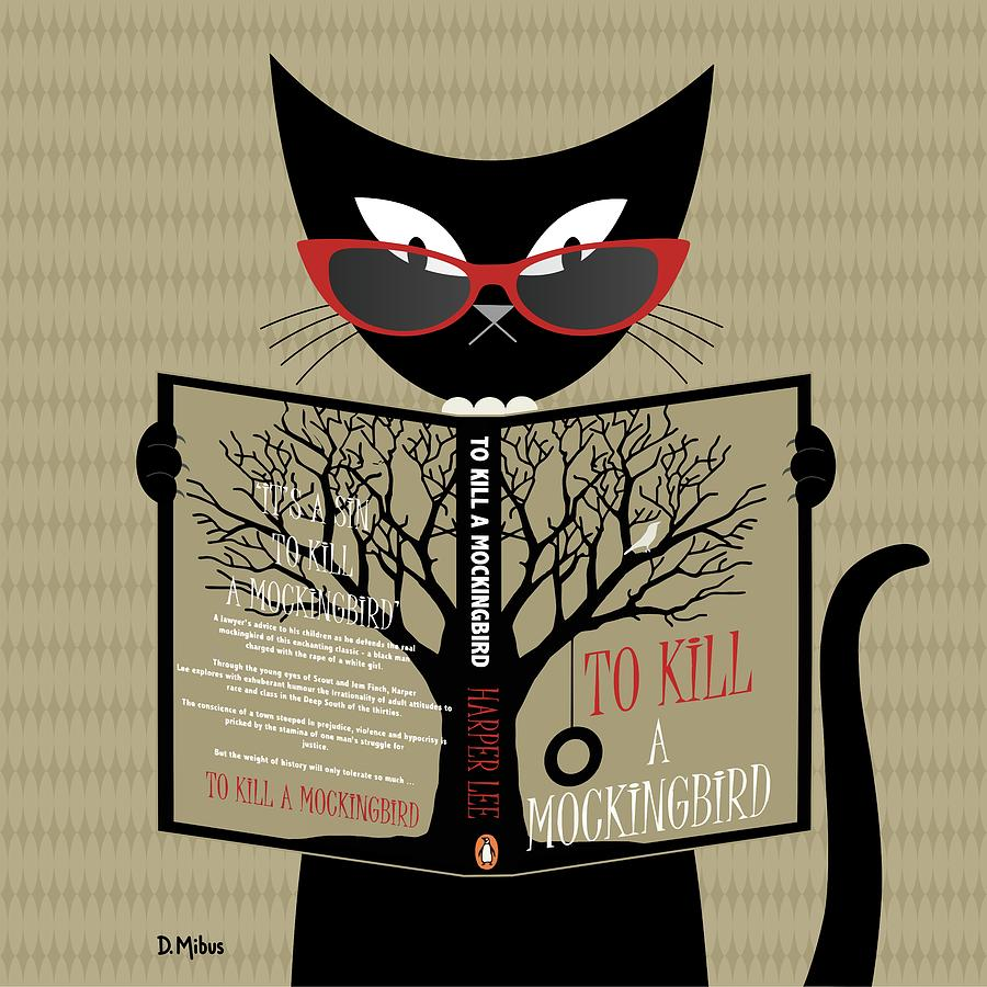 Black Cat Reading by Donna Mibus