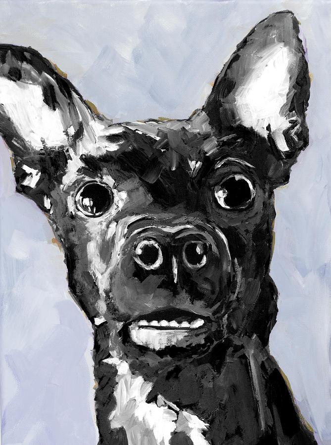 Black Chihuahua Dog Portrait Painting By Patricia Awapara