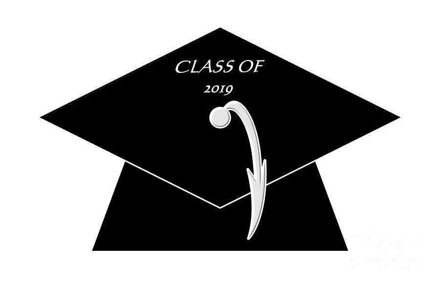 Black Class of 2019 Graduation Cap by Rose Santuci-Sofranko