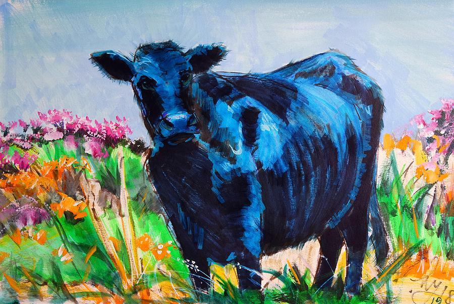 Black Cow Painting - Angus Steer on Dartmoor by Mike Jory