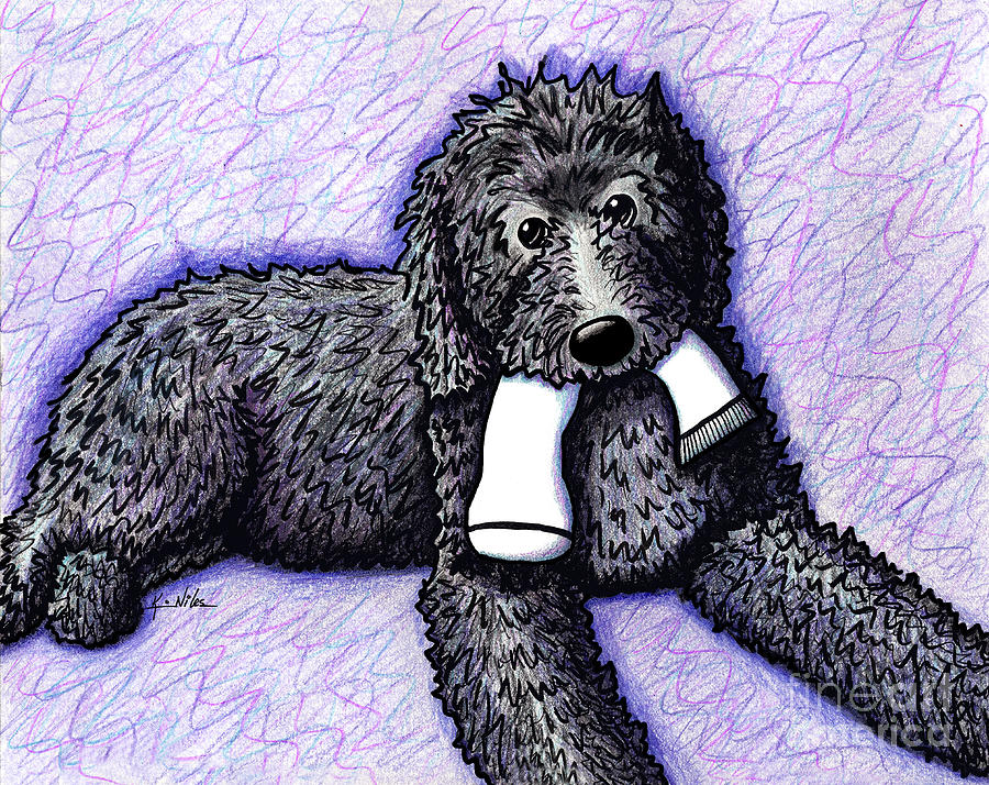 Doodle Drawing - Black Doodle With Sock by Kim Niles