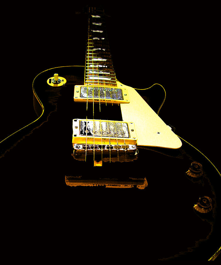 Black Guitar with Gold Accents by Guitar Wacky