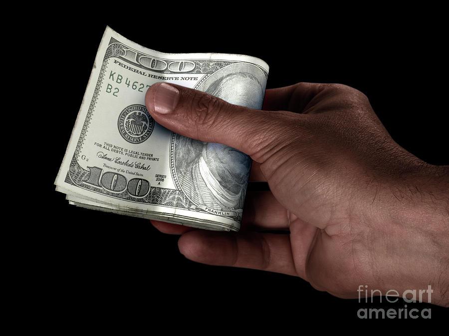 Dollar Digital Art - Black Hand And Us Dollar Cash by Allan Swart