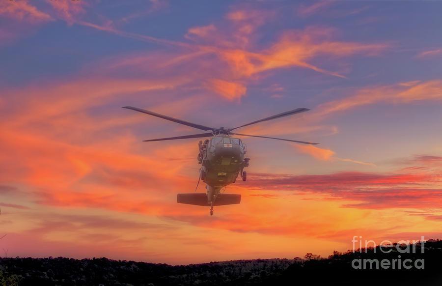 Dustoff Digital Art - Black Hawk Sunset Medevac by Randy Steele