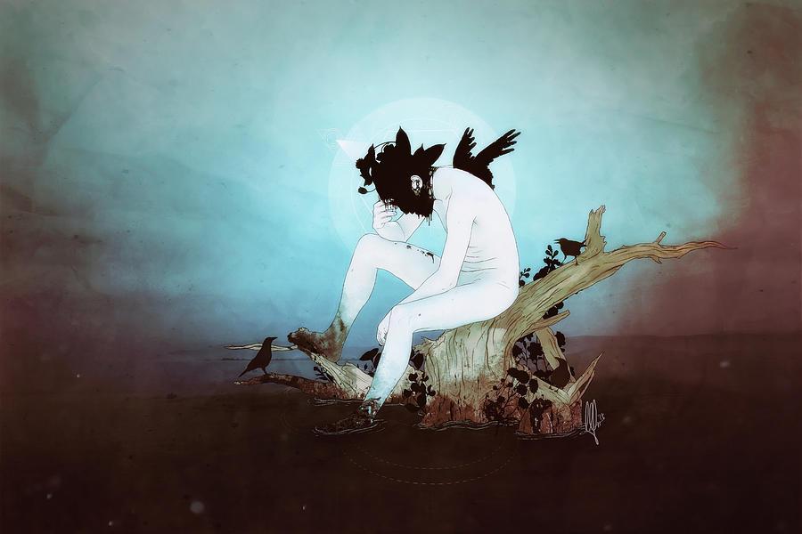 Surreal Digital Art - Black Lake by Mario Sanchez Nevado