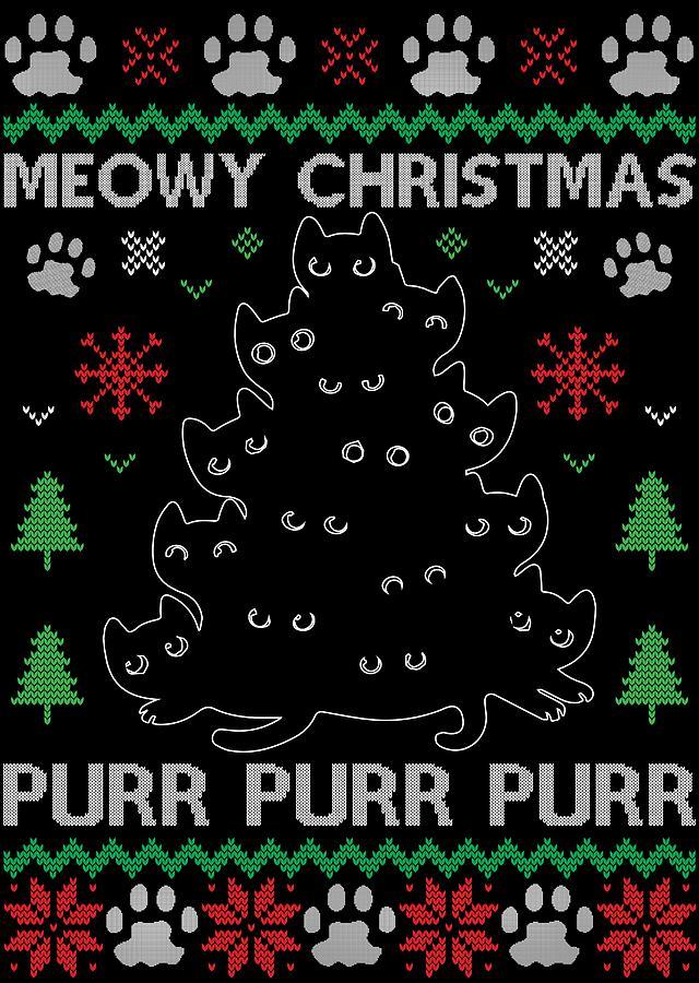 Meowy Christmas.Black Meowy Christmas