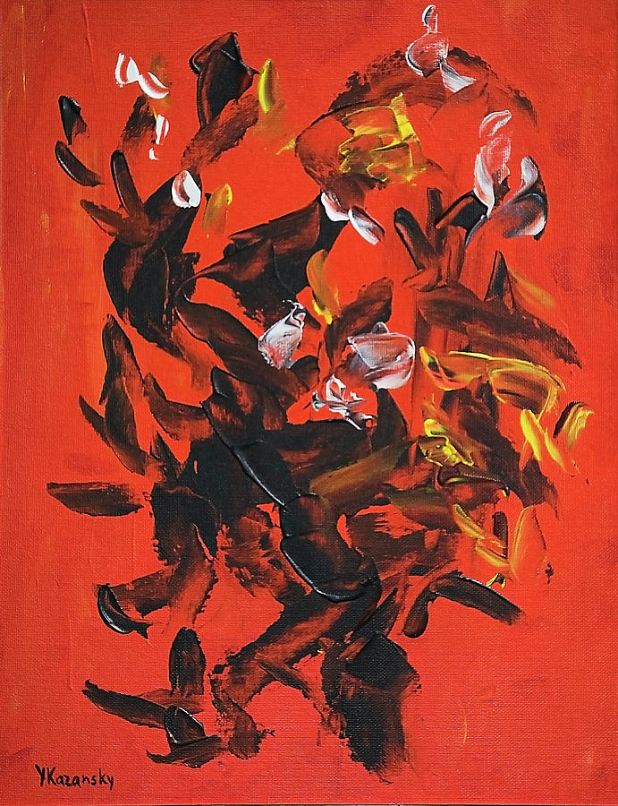 Black on Red Abstract by Yulia Kazansky