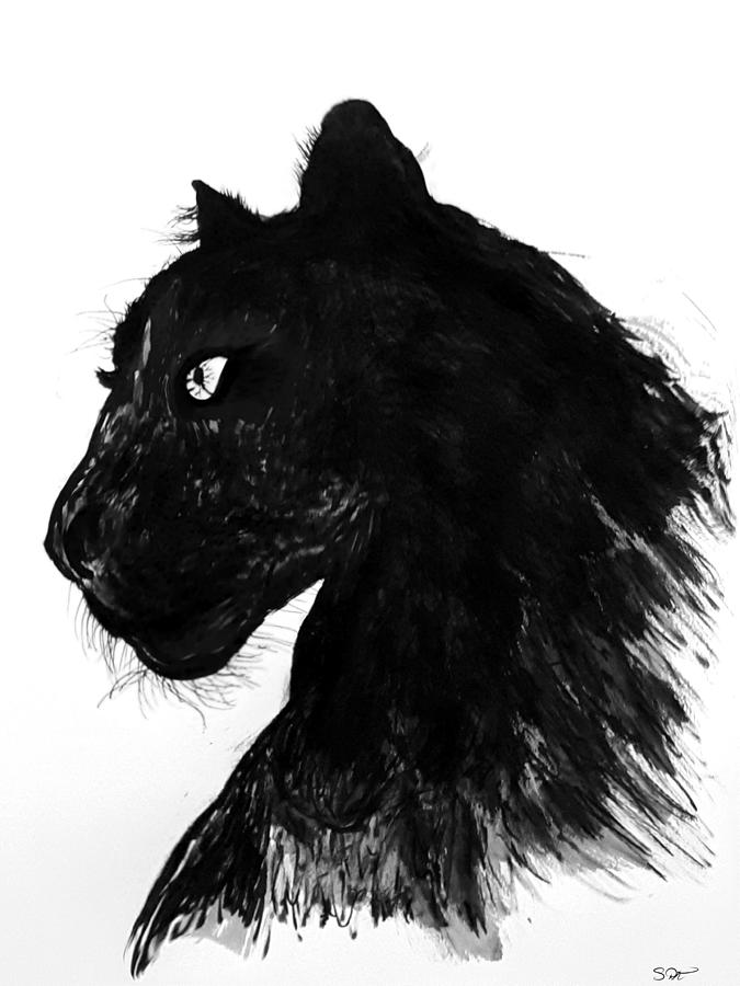 Black Panther Drawing By Abstract Angel Artist Stephen K