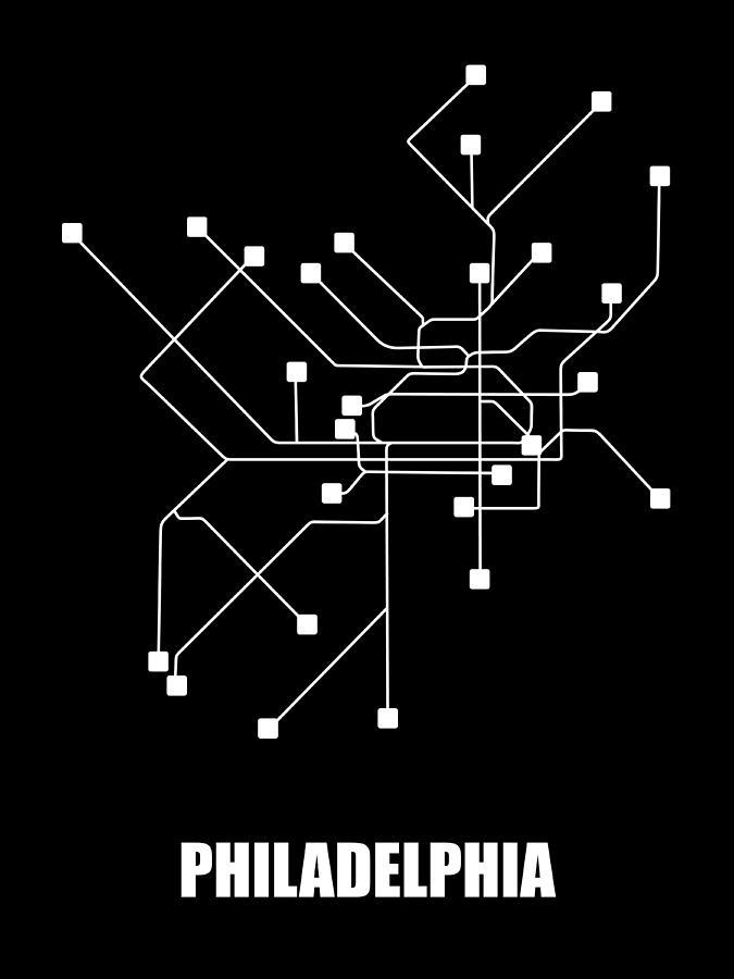 Philadelphia Digital Art - Black Philadelphia Subway Map by Naxart Studio