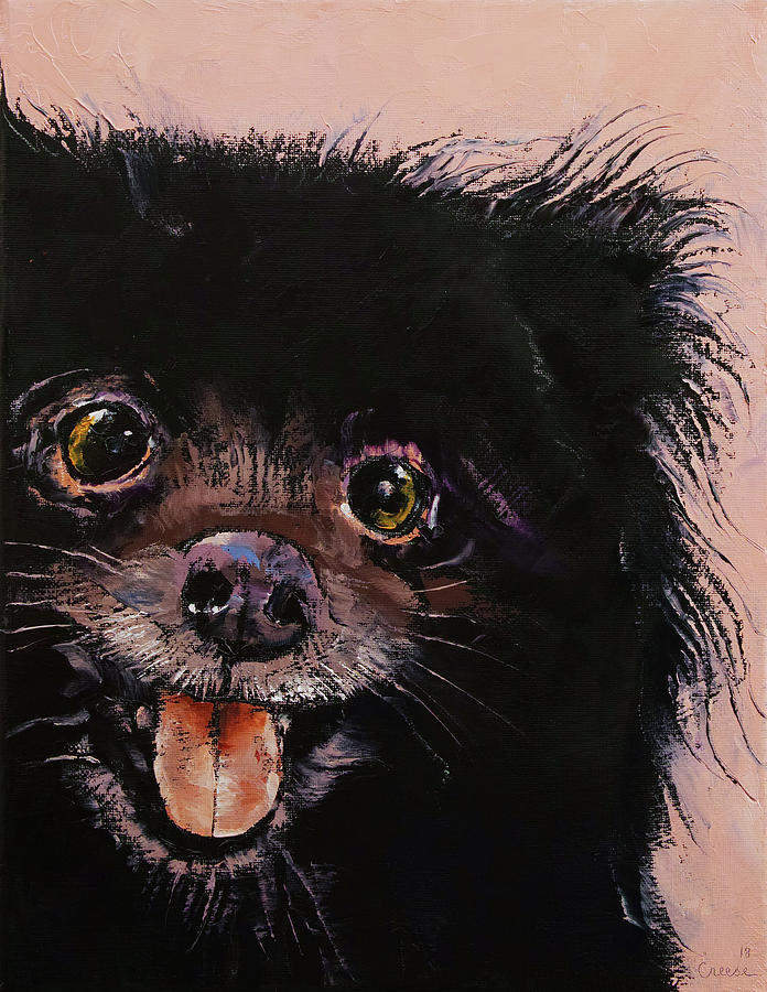 Dog Painting - Black Pomeranian by Michael Creese