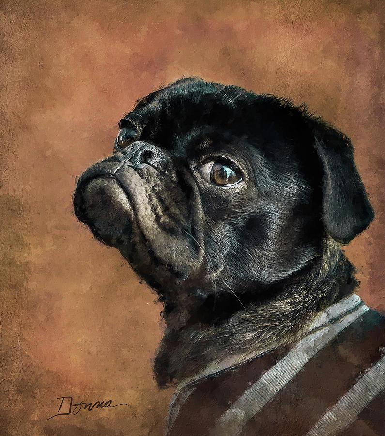 Pug Painting - Black Pug Dog Portrait by Donnaistic