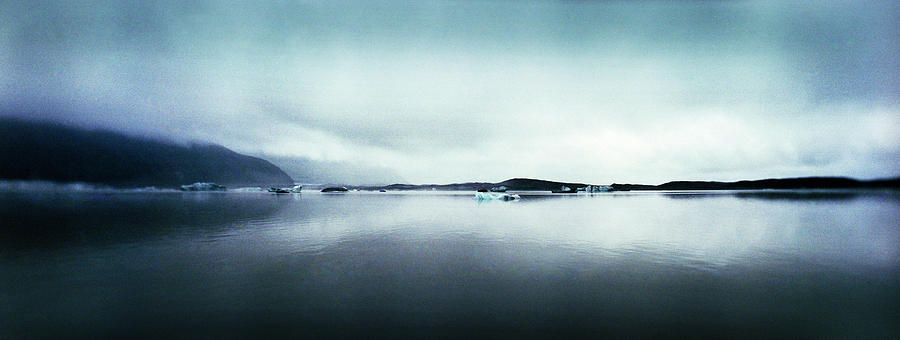 Horizontal Photograph - Black Sand Beach And Glaciers by Panoramic Images