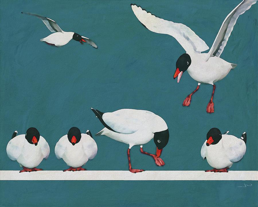 Black seagulls on a row by Jan Keteleer