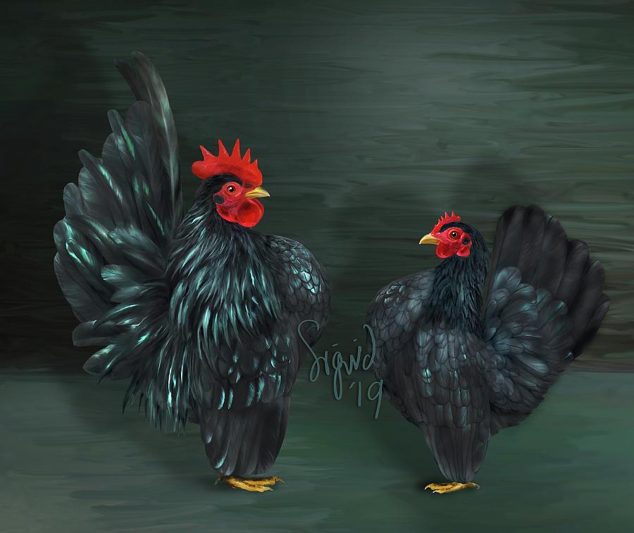 Black Serama pair by Sigrid Van Dort
