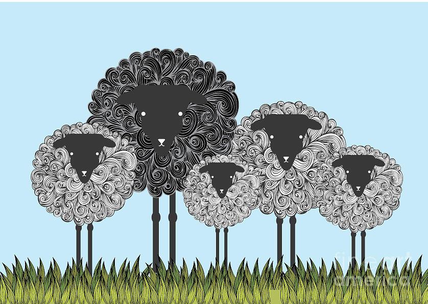 Wool Digital Art - Black Sheep Illustrationvector by Lyeyee